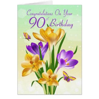Cartão açafrão amarelo e roxo do aniversário do 90