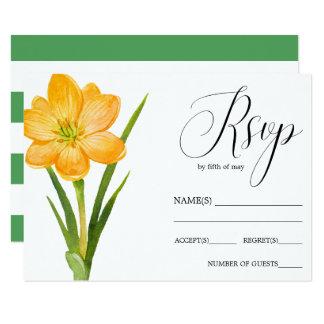 Cartão Açafrão na moda RSVP wedding rústico do AMARELO da