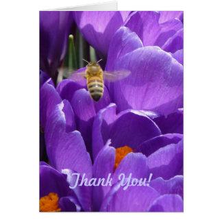 """Cartão """"Açafrões e abelha do mel"""" - obrigado"""