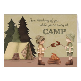 Cartão Acampamento de Verão que pensa de você, campistas