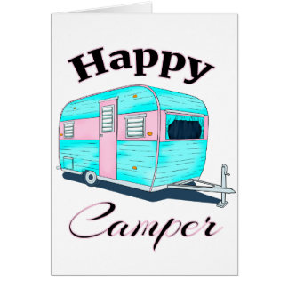 Cartão Acampamento do reboque de campista feliz