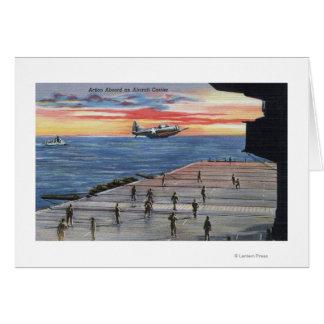 Cartão Ação a bordo do porta-aviões - marinho dos E.U.