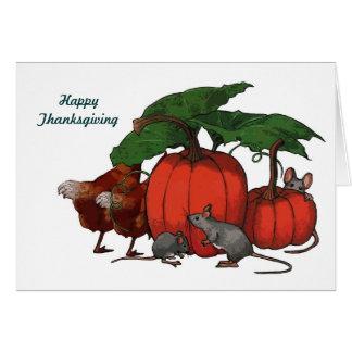 Cartão Acção de graças: Abóboras, ratos, galinhas: Arte