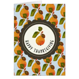 Cartão Acção de graças da fruta das peras da queda