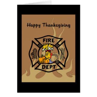 Cartão Acção de graças do sapador-bombeiro