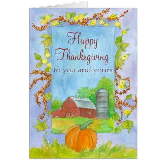 Cartão Acção de graças feliz a você e a seu celeiro