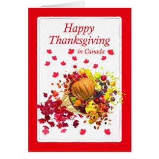 Cartão Acção de graças feliz no Cornucopia de Canadá