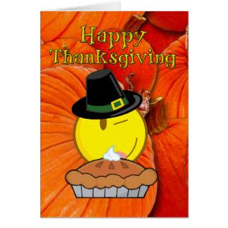 Cartão Acção de graças feliz - peregrino do smiley face,