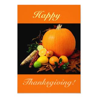 Cartão Acção de graças feliz V com abóbora e fruta