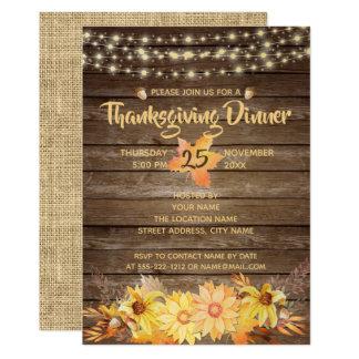 Cartão Acção de graças floral do outono de madeira