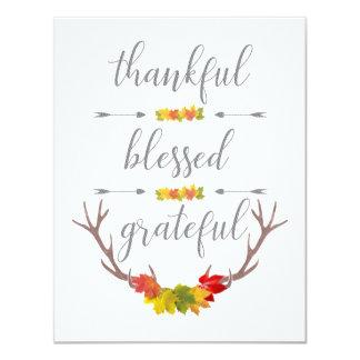 Cartão Acção de graças grata abençoada grata do Antler da