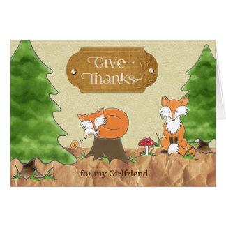 Cartão Acção de graças para raposas das madeiras de