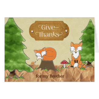 Cartão Acção de graças para raposas das madeiras de Álbum