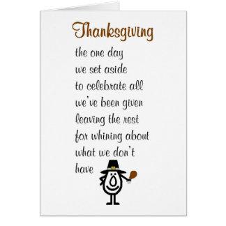 Cartão Acção de graças - um poema feliz engraçado da
