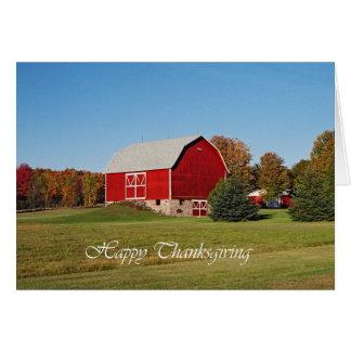 Cartão Acção de graças vermelha do celeiro