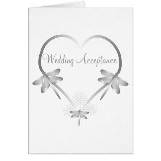 Cartão Aceitação de prata do casamento do coração da