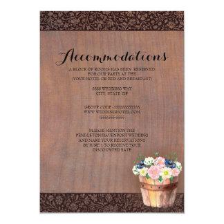 Cartão Acomodações de madeira rústicas do casamento da