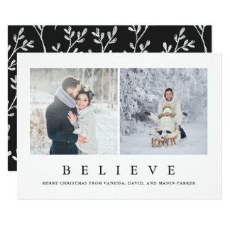 Cartão Acredite a foto minimalista moderna do Natal dois