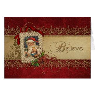 Cartão Acredite o ouro e o natal vintage vermelho do