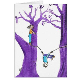 Cartão Acrobatics em duas árvores roxas