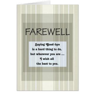 Cartão Adeus/adeus listras verdes