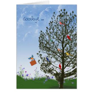 Cartão Adeus com os pássaros na árvore