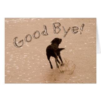 Cartão Adeus e cão de adeus que funcionam na praia