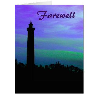 Cartão Adeus - farol no crepúsculo
