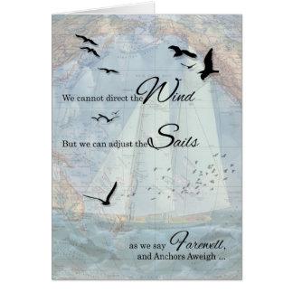 Cartão Adeus - o tema náutico da navigação ancora Aweigh