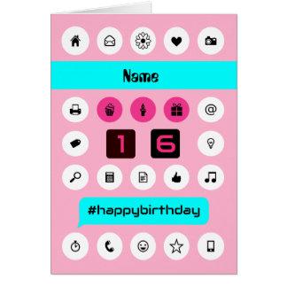 Cartão Adicione ícones do smartphone do aniversário do