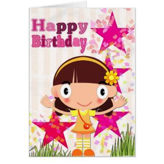 Cartão Adicione seu próprio texto: Menina do aniversário