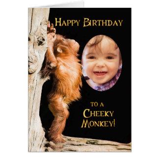 Cartão Adicione uma foto, feliz aniversario de um orang