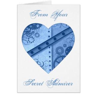 Cartão Admirador do segredo do coração do steampunk do