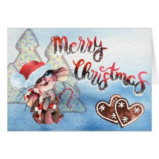 Cartão Adocica Weihnachtsmaus com barra de açúcar