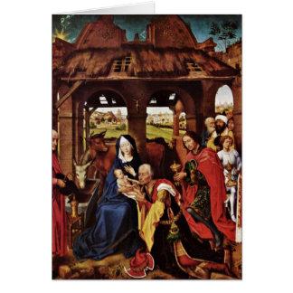 Cartão Adoração dos Magi por Rogier van der Weyden