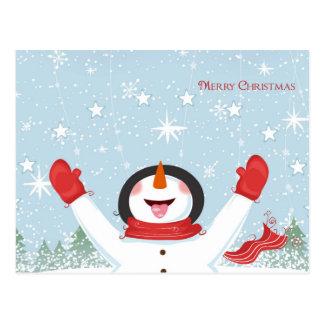 Cartão adorável do boneco de neve do Natal
