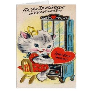 Cartão adorável do dia dos namorados do vintage