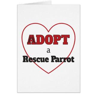 Cartão Adote um papagaio do salvamento - coração