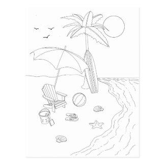 Cartão adulto da coloração da cena da praia
