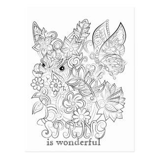 Cartão adulto da coloração do coelho e da