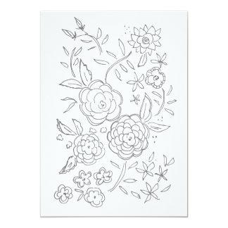 Cartão adulto da coloração do jardim de rosas dos convite 12.7 x 17.78cm