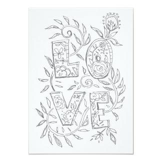 Cartão adulto da coloração dos namorados do AMOR Convite 12.7 X 17.78cm