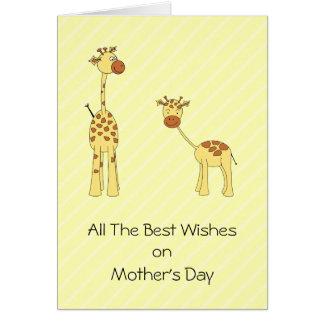 Cartão Adulto e girafa do bebê. Desenhos animados