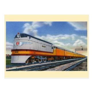 Cartão aerodinamizado vintage da locomotiva de