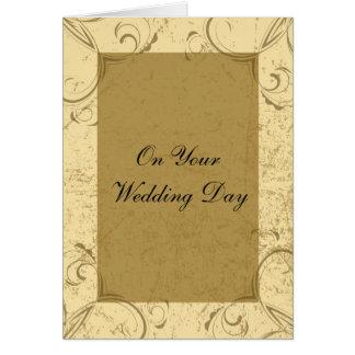 Cartão afligido e elegante do dia do casamento
