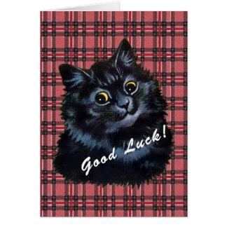 Cartão afortunado do gato preto de Louis Wain do