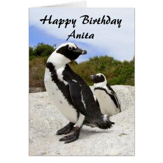 Cartão africano do humor dos pinguins do feliz