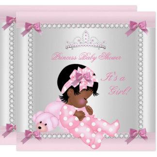 Cartão Afro-americano do urso do rosa do bebé do chá de