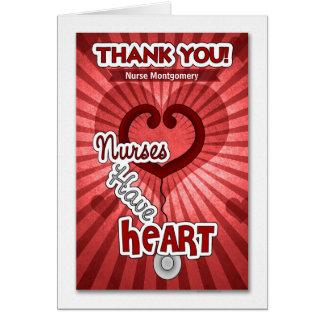 Cartão Agradeça a uma enfermeira com nome feito sob