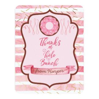 Cartão Agradece a um obrigado da rosquinha do rosa do